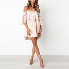 Off Shoulder Half Sleeve Ruffles Casual Dresses for summer casual dresses for summer sundresses casual dresses for summer women summer dresses 2019 beach casual dresses casual dresses for summer modest casual dresses for women Casual Dresses For Teens, Business Casual Dresses, Spring Dresses Casual, Summer Dresses For Women, One Shoulder Dress Long, Ladies Dress Design, Types Of Fashion Styles, Arm, Trending Outfits