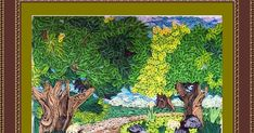 Its been a long while since I quilled  a nature landscape using only basic shapes, so I did this quilled picture of a pathway through th...