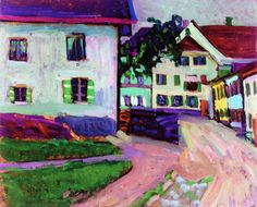 Gabrielle Münter  Village Street in Murnau 1908   Private collection	 Painting - oil on board  Height: 33 cm (12.99 in.), Width: 40.6 cm (15.98 in.)