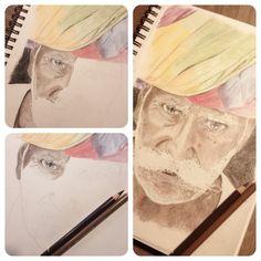 #old man #colour #pencil