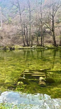 Sunken raft beneath the waters of Treska River-Macedonia