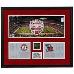 Alabama Crimson Tide 2012 BCS National Champions Back-to-Back Champions Framed Mini Panoramic Collage with Game-Used Turf