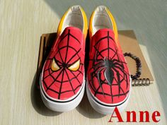 SpiderMan shoes painted canvas shoes anime shoes by Annemagicworld, $35.99