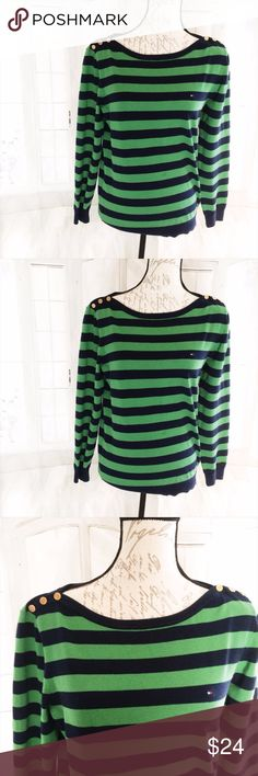 """Final $ Tommy Hilfiger Green Striped Sweater Large Dark green and black with gold details and classic logo. 23"""" long, 23"""" sleeve, 18.5"""" bust. Used but good condition. Very lightweight. Tommy Hilfiger Sweaters"""