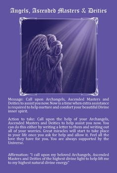 Angels, Ascended Masters & Dieties