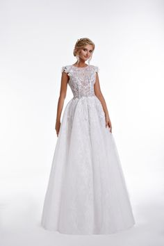 EMMA Princess bridal dress from fine lace and decolletage in V