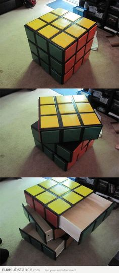 Funny pictures about Awesome Rubik's Cube Dresser. Oh, and cool pics about Awesome Rubik's Cube Dresser. Also, Awesome Rubik's Cube Dresser photos. Geek Decor, Rubik's Cube, Deco Design, My Room, Cool Furniture, Wood Projects, Decoration, Kids Room, Sweet Home