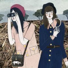 """An illustration of two detective girls who clearly """"got this"""". I love it. #YelenaBryksenkova"""