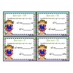 Le bon son - gn ou ng Promotion, Spelling, Preschool, Words, Cards