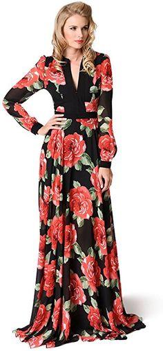 Retro 1970s Style Black & Pink Floral Long Sleeve Chiffon Maxi Dress at Amazon Women's Clothing store: