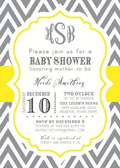 60 best yellow and grey baby shower idea images on pinterest baby dark gray charcoal and yellow monogram chevron modern baby shower birthday bridal shower invitation choose colors and wording filmwisefo
