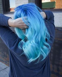 Dark Blue Roots to Sky Blue Hair