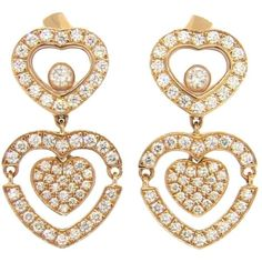 Preowned Chopard Happy Amore Floating Diamond Gold Heart Earrings (100.207.495 IDR) ❤ liked on Polyvore featuring jewelry, earrings, multiple, gold heart earrings, yellow gold diamond earrings, heart shaped earrings, gold earrings and gold diamond earrings