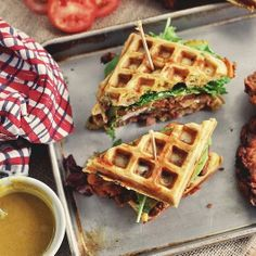 Chicken strips and waffles | Chicken and Waffle Sandwiches by Jonathan Melendez