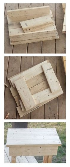 Easy Little End Tables in 2 Hours : 5 Steps (with Pictures) - Instructables Pallet Crafts, Diy Pallet Projects, Woodworking Projects, Wood Crafts, Woodworking Plans, Outdoor Projects, Woodworking Classes, House Projects, Pallet End Tables