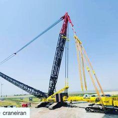 Photo by @craneiran A photo of the actual usage of LTR1220 as superlift counterweight for LR1600/2 crawler. #cranepedia #crawlercrane #telescopiccrawler #liebherr #superlift #instacrane #cranes