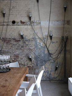 exposed wall and raw lightings