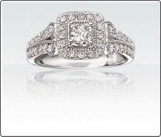 Harper - Over 1ct T.W. Diamond Princess Cut Halo Engagement Ring