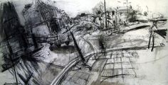 In Depth Interview with Junction 47, By Kate Downie. (charcoal and street dirt on primed paper)