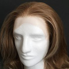 I really love this hairline, even just plopped on a foam head. Knotting subtle highlights at the front edge and temples can make even synthetic hair look sun-kissed and natural! #davidedwards #wigmaker #montreal #wigmaking #ventilating #wig #lace #lacewig #lacefrontwig #synthetic #hair