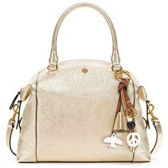 Tory Burch Peace Metallic Satchel ($495) ❤ liked on Polyvore featuring bags, handbags, spark gold, tory burch handbags, white handbags, white leather purse, leather satchel purse and satchel purses