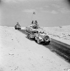 Tank transporters carrying re-conditioned Crusader tanks back to the front line, 23 July North Africa Crusader Tank, Afrika Corps, North African Campaign, British Army, British Tanks, Ww2 Pictures, Ww2 Tanks, Army Vehicles, Military History