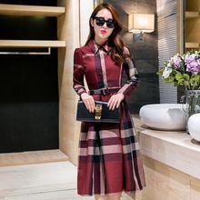 Plus size 2016 nova moda outono xadrez vestido de manga comprida escritório senhora vestido bonito vestido 3 cores(China (Mainland))