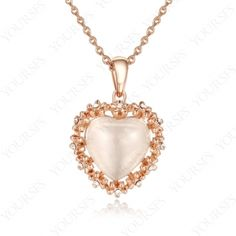 18K Rose Gold P Swarovski Crystal Opal stone Heart Of THE Ocean Pendant Necklace N326R1