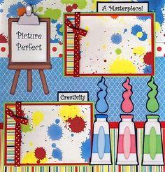 LITTLE-ARTIST-girl-2-premade-scrapbook-pages-paper-piecing-layout-4-album-CHERRY