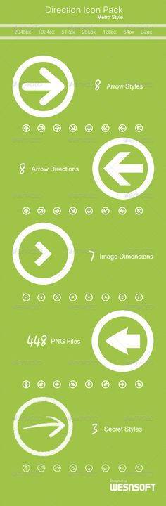 Direction Icon Pack (Metro Style) by wesnsoft Direction Icon Pack (Metro Style) is a set of modern icons to show the direction of movement, the navigation buttons, or for any u