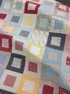 Hometown lap or baby quilt  red blue yellow by ModernMaterialGirl, $155.00