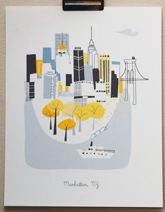 Manhattan NY by albiedesigns on Etsy, $30.00