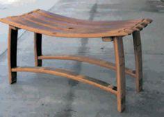 Bench made of wine barrell staves Wine Barrel Chairs, Wine Barrel Rings, Wine Barrels, Log Benches, Wine Barrel Furniture, Barrel Projects, Wood Stool, Bourbon Barrel, Swinging Chair