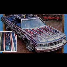 "Here's the iconic 'Elvis Car' lowrider, painted by the legendary Arthur ""Crazy Art"" Fullington. Needless to say, I love the paint job! #70scarculture #Chevy #Caprice #76Caprice #CustomPaint #CrazyArt #ElvisCar #Lowrider #NotADonk #Truespokes #Vintage #70s"