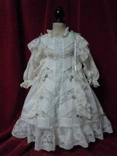 Exquisite Antique white work batiste Dress for french Bebe Jumeau Steiner doll
