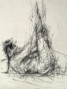 Life Drawing - Drawing with a long stick with charcoal attached to the end. #Art…