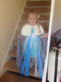 Elsa from frozen dress made with headband and bin bags :)