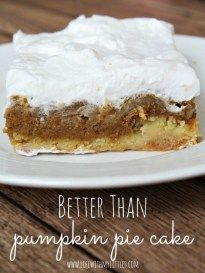 fall desserts Better Than Pumpkin Pie Cake is the perfect Thanksgiving or fall dessert. With a cake layer on the bottom, and a crunchy brown sugar topping, it is divine! Fall Desserts, Just Desserts, Delicious Desserts, Dessert Recipes, Christmas Desserts, Christmas Recipes, Frosting Recipes, Holiday Treats, Holiday Recipes