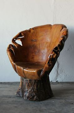 Hand Carved Tree Trunk Chair