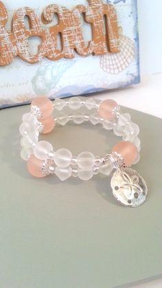 Peach sea glass beads memory wire bracelet, summer beach jewelry
