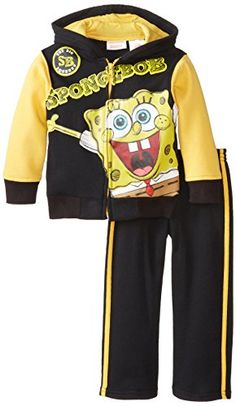 Nickelodeon Boys SpongeBob 2 Piece Stripped Running Pullover Hood And Pant Yellow 3T