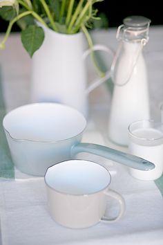 Enamel Milk Pan in Shutter Blue