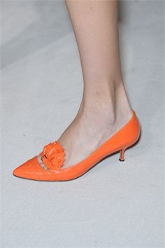 Orange Kitten Heel Shoes Tsaa Heel