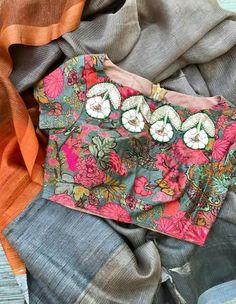 Sari Blouse Designs, Designer Blouse Patterns, Blouse Styles, Indian Style, Simple Sarees, Indian Blouse, Elegant Saree, Indie, Bollywood