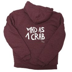 Mad As A Crab Chunky Fleece Full Zip Hoodie - Red