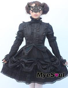 2bd41a9c6b1 Long Sleeves Black Cotton Gothic Lolita Dresses OP  lolita  sweetlolita
