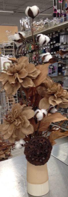 Burlap flowers with cotton