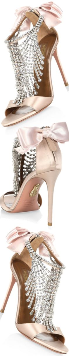 Aquazzura Fifth Avenue Crystal & Satin Sandals Are Beautiful heels. Just for ME 😍 SLVH 😍 Hot Shoes, Crazy Shoes, Me Too Shoes, Stilettos, High Heels, Pretty Shoes, Beautiful Shoes, Bridal Shoes, Wedding Shoes