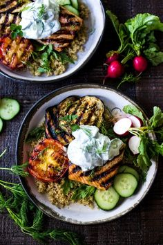 Grilled Salmon Tzatziki Bowl- a fast and delicious weeknight meal loaded up with healthy veggies! | www.feastingathome.com
