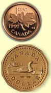"Canadian pennies prior to 1997 were approximately 98% copper and 1.75 % zinc. So, a pre-1997 Canadian penny (aside from being illegal to smash in Canada) should give you a decent result after elongating.  Note: Do not attempt to elongate a ""Loonie"" (the non-round coin). It will squish far too short and you will loose part of the design."